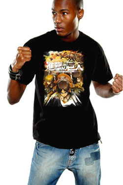 Attack on Titan T-Shirt Crewfight Black Size S