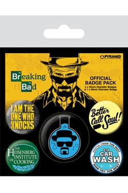 Breaking Bad Pin Badges 5-Pack Heisenberg Flask