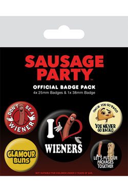 Sausage Party Pin Badges 5-Pack Wieners