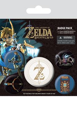 The Legend of Zelda Breath of the Wild Pin Badges 5-Pack Z Emblem