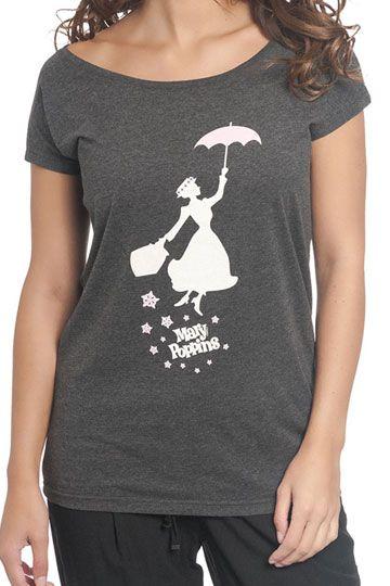 T Shirt Mary Femme Poppins Umbrella Loose mn8N0vw