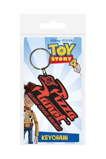 DISNEY PIXAR TOY STORY 4 PIZZA PLANET RUBBER KEYRING NEW OFFICIAL MERCHANDISE