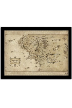 The Hobbit An Unexpected Journey Framed Poster Middle Earth Map 42 x 30 cm