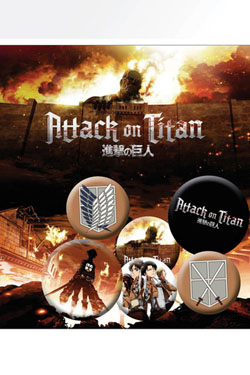 Attack on Titan Pin Badges 6-Pack Characters