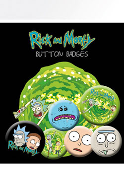 Rick and Morty Pin Badges 6-Pack Characters