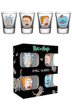 Rick and Morty Shotglass 4-Pack Faces