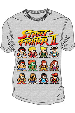 Street Fighter II T-Shirt Pixel Characters Size M