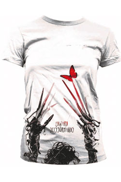 Edward Scissorhands Ladies Sublimation T-Shirt Red Butterfly  Size M