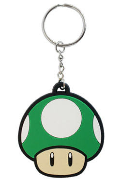 Super Mario Bros. Rubber Keychain 1-Up Mushroom 6 cm