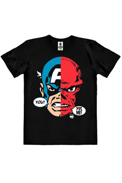 Marvel Comics Easy Fit Organic T-Shirt Cap America & Red Skull Faces Size XL