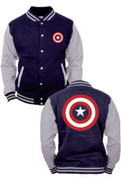 Captain America Baseball Varsity Jacket Shield Logo Size S