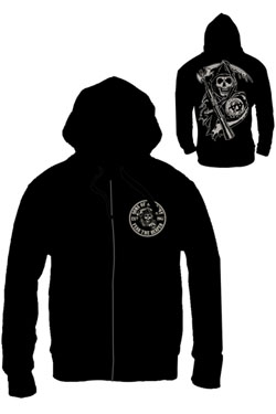 Sons of Anarchy Zipped Hooded Sweater Death Reaper Size M