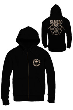 Sons of Anarchy Zipped Hooded Sweater SAMCRO Chained Size L