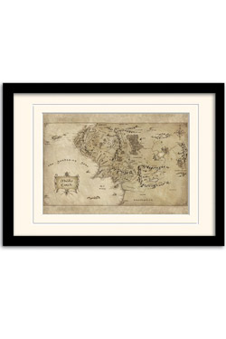 The Hobbit An Unexpected Journey Framed Poster with Mount Middle Earth Map