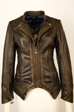 Wonder Woman Ladies Leather Jacket Metallic Logo Size S