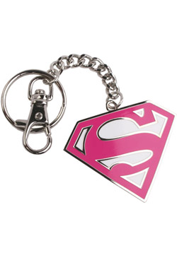 Superman Metal Key Ring Pink Logo