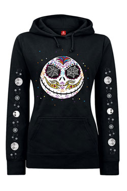 Nightmare Before Christmas Ladies Hooded Sweater Sugarskull Dots Size XL