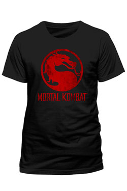 Mortal Kombat T-Shirt Distressed Logo Size XL
