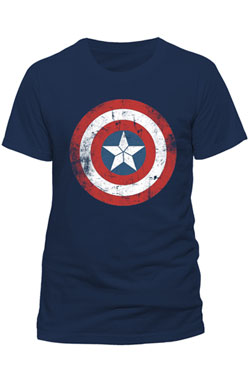 Captain America T-Shirt Shield Logo Distressed Size L