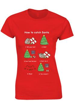 Pusheen Ladies T-Shirt How To Catch Santa Size S