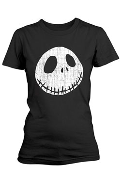Nightmare Before Christmas Ladies T-Shirt Cracked Face Size S