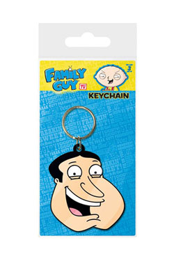Family Guy Rubber Keychain Quagmire Face 6 cm