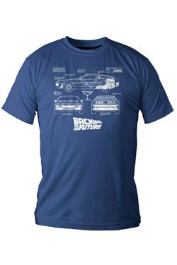 Back to the Future T-Shirt DeLorean Blueprint Size L