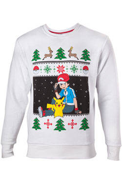 Pokemon Sweater Ash & Pikachu Christmas  Size S