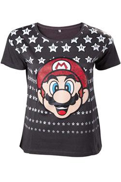 Nintendo Ladies T-Shirt Mario & Stars Size L