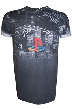 Sony PlayStation T-Shirt City Landscape Size M