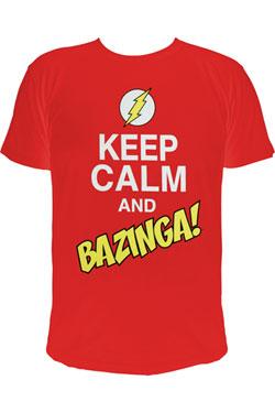 The Big Bang Theory T-Shirt Keep Calm and Bazinga  Size L