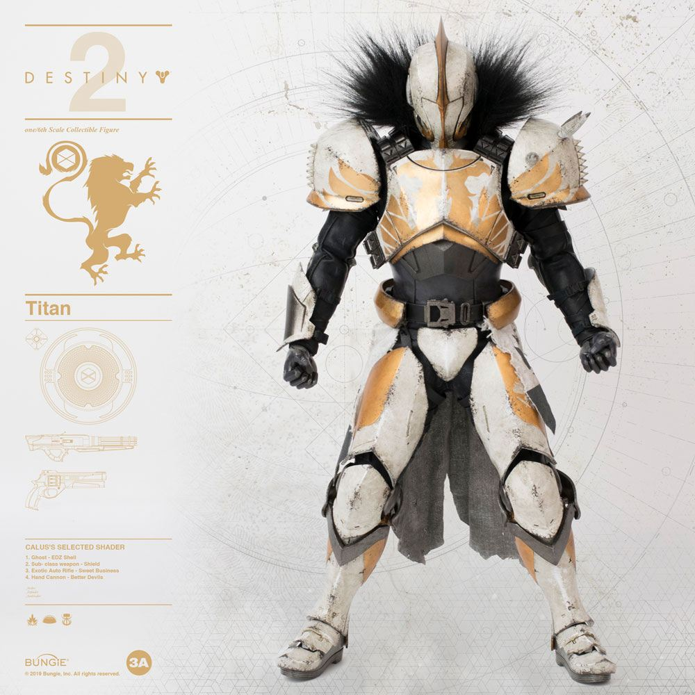 Titan Calus's Selected Shader Destiny 2 Sixth Scale Action Figure by ThreeA Toys