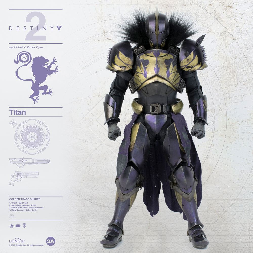 Titan Golden Trace Shader Destiny 2 Sixth Scale Action Figure by ThreeA Toys