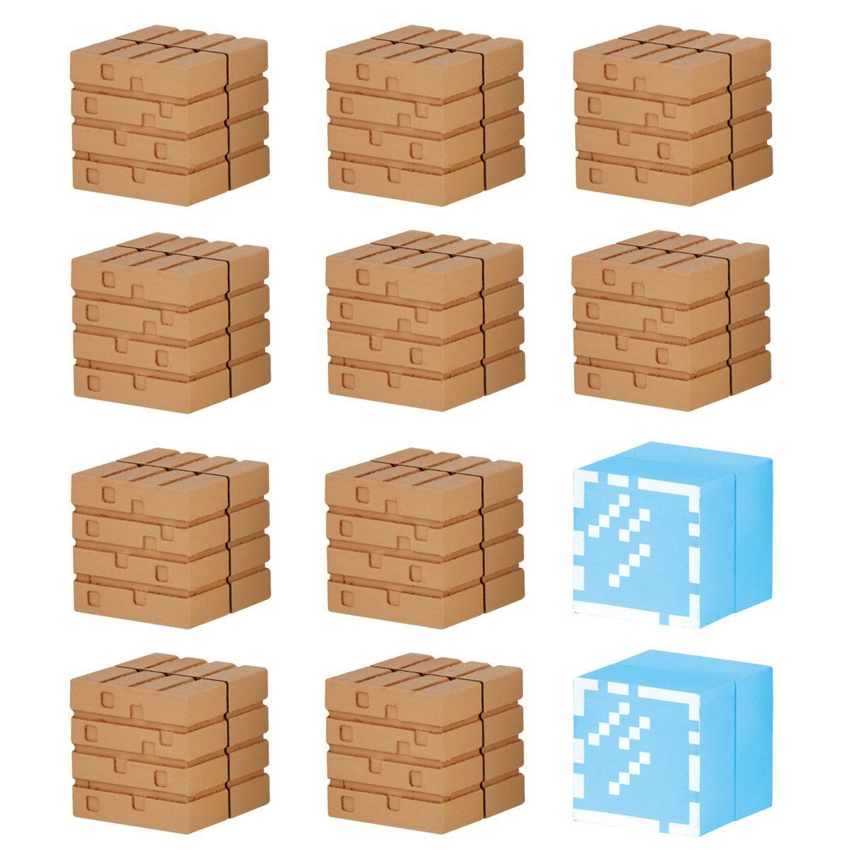 Minecraft Mine-Keshi Figures 2- 4 cm Block Set Wood Planks & Glass