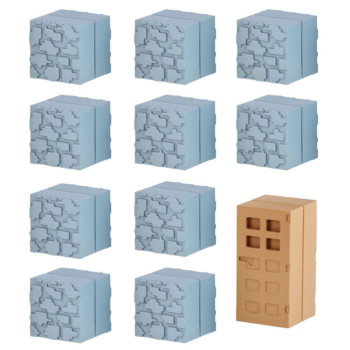 Minecraft Mine-Keshi Figures 2- 4 cm Block Set Cobblestone & Wooden Door
