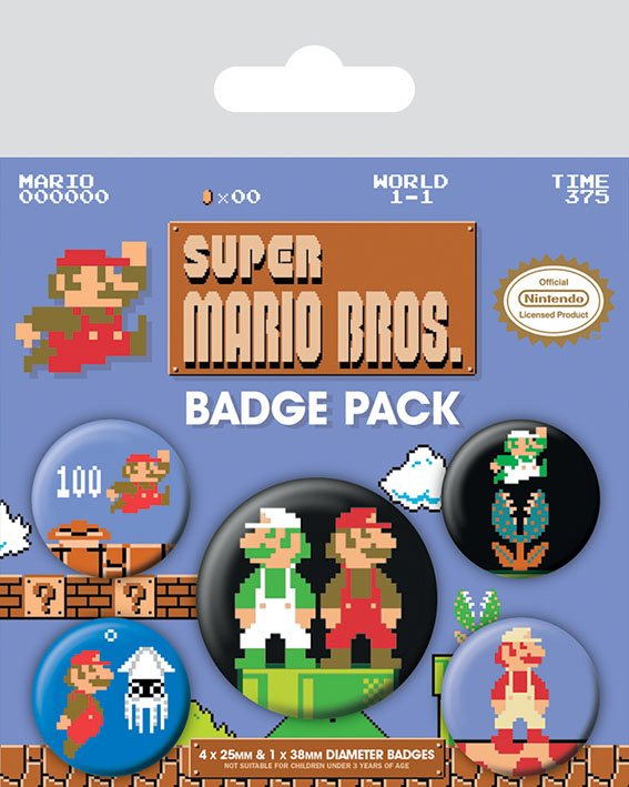 Super Mario Bros. Pin Badges 5-Pack
