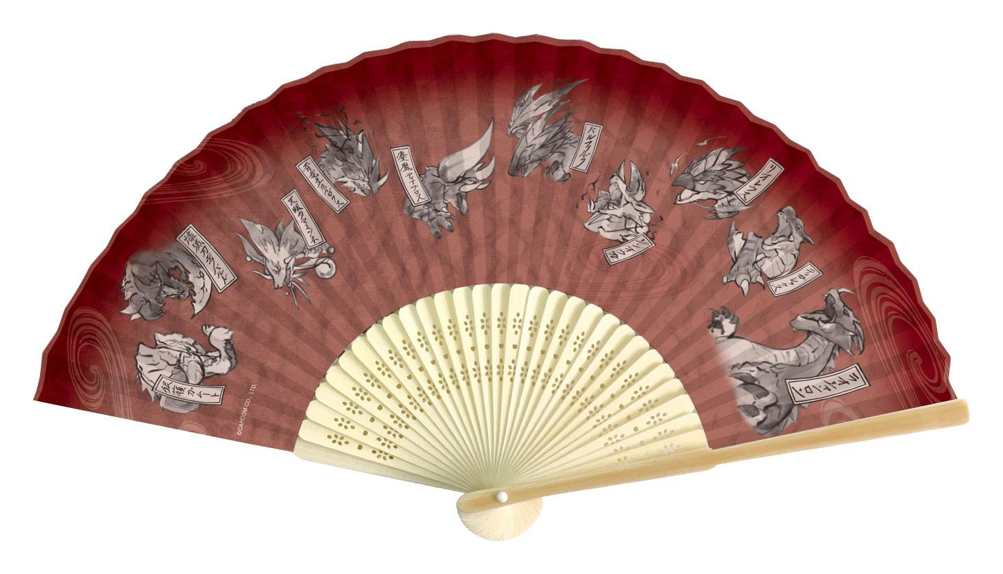 Monster Hunter Double Cross Folding Fan Japanese Pattern Red