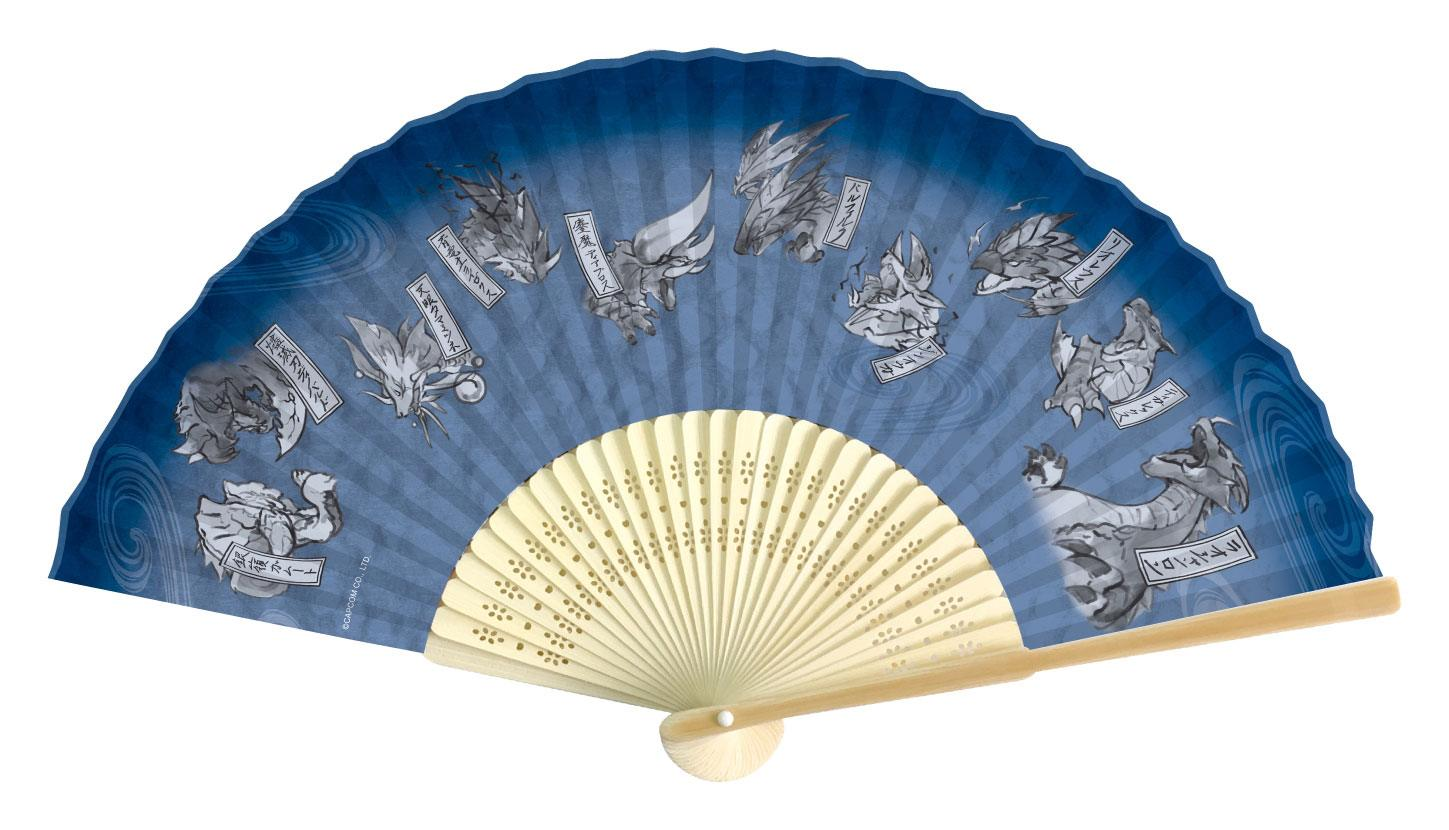 Monster Hunter Double Cross Folding Fan Japanese Pattern Blue