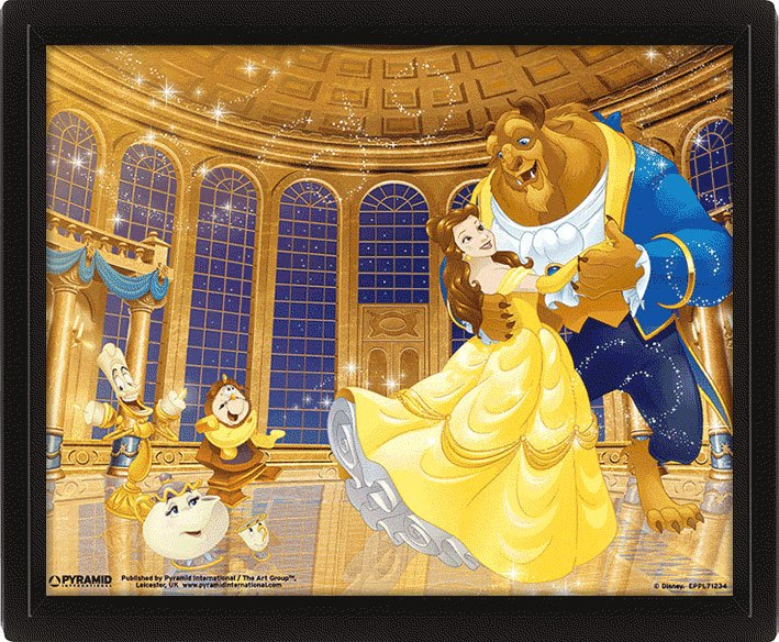 Beauty and the Beast Framed 3D Effect Poster Pack Ballroom 26 x 20 cm (3)