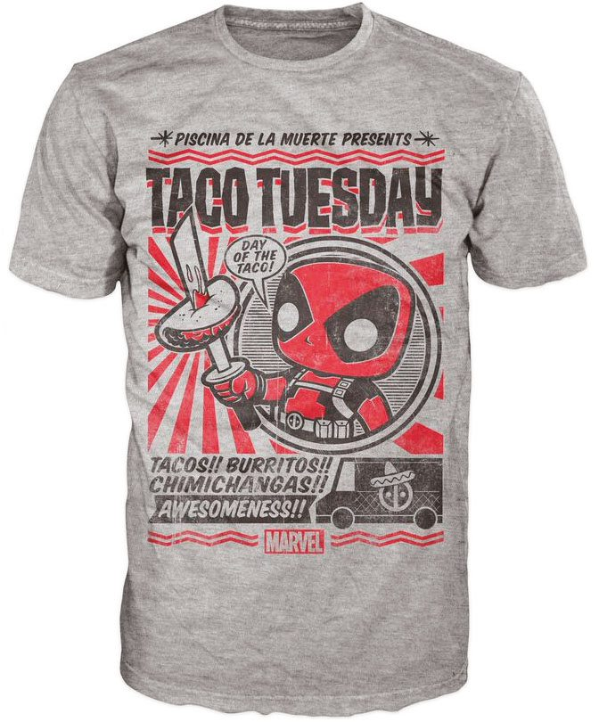 Marvel Comics POP! Tees T-Shirt Deadpool Taco Tuesday Size XL