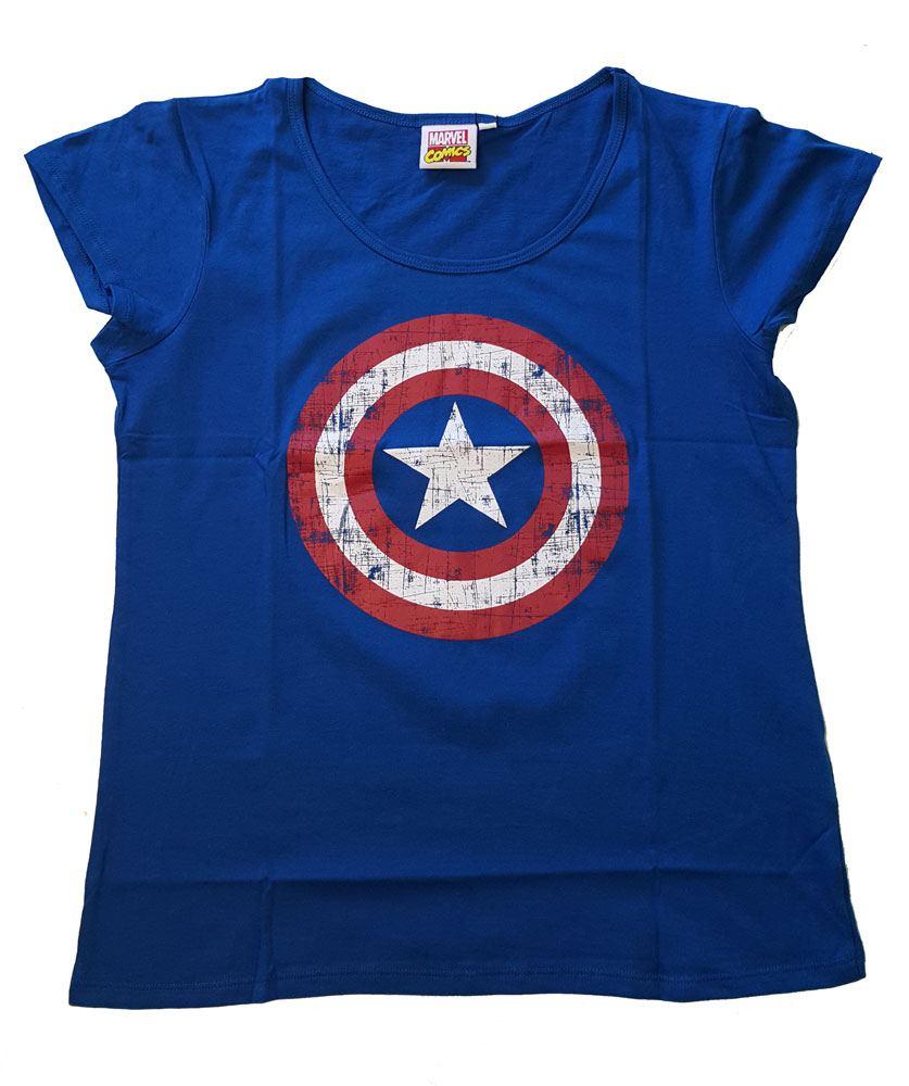 Captain America Ladies T-Shirt Logo cobalt Size M
