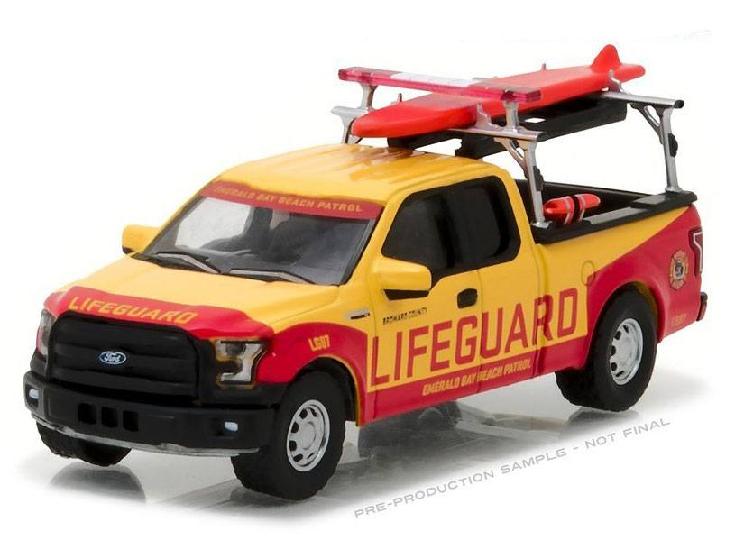 Baywatch Diecast Model 1/64 2016 Ford F-150 Emerald Bay Beach Patrol
