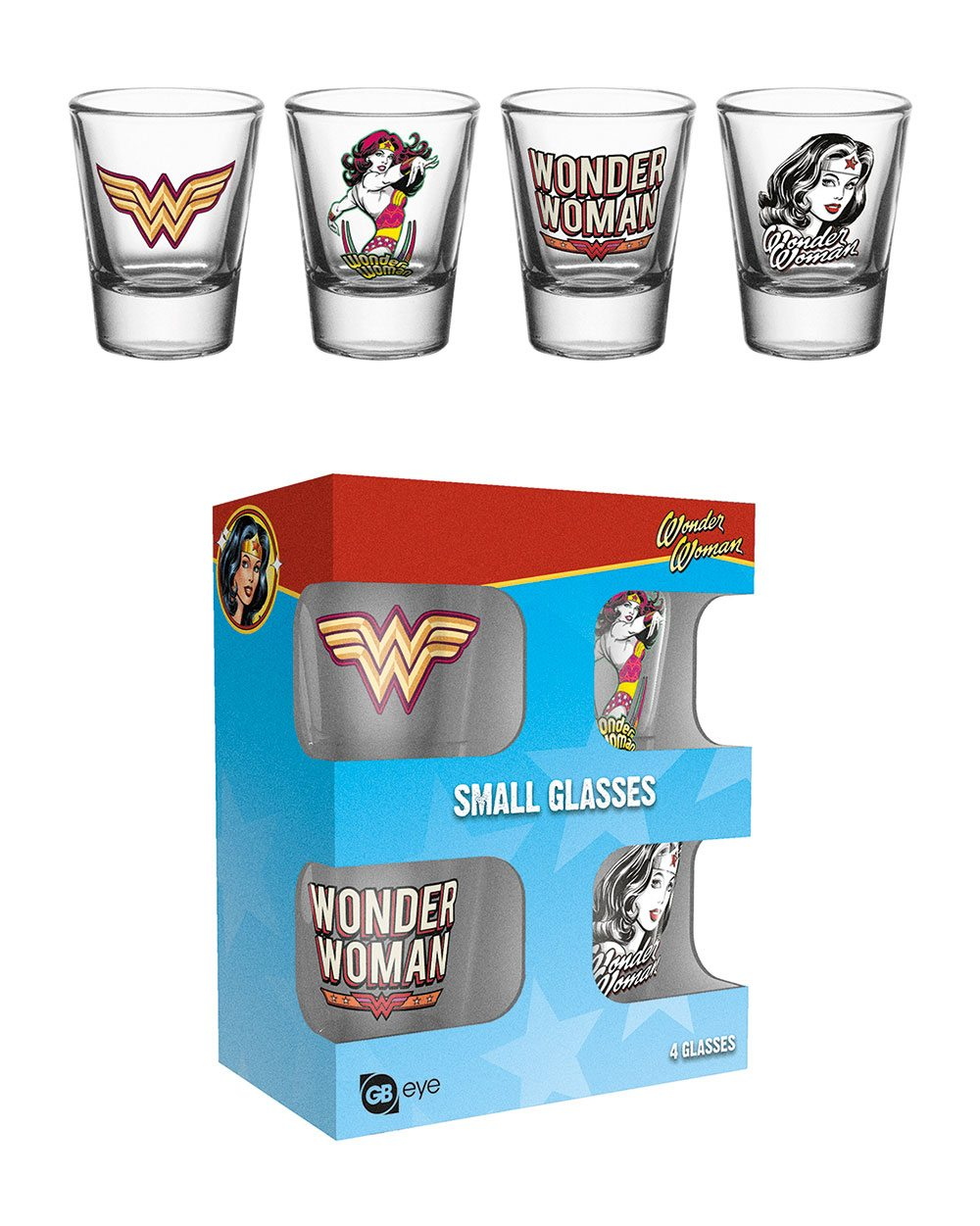Wonder Woman Shotglass 4-Pack 60´s Pop