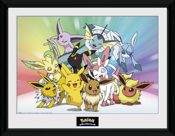 Pokemon Framed Poster Eeevee & Friends 45 x 34 cm