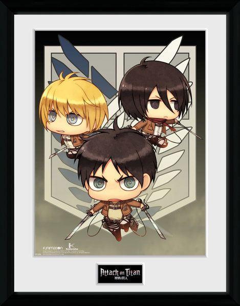 Attack on Titan Season 2 Framed Poster Chibi Trio 45 x 34 cm