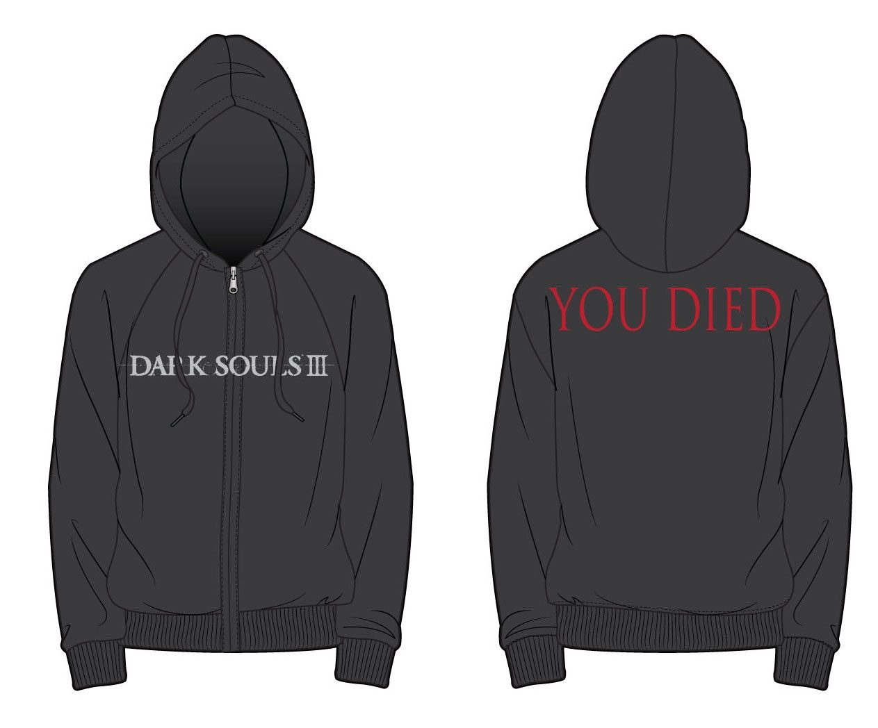 Dark Souls III Hooded Sweater You Died Size L