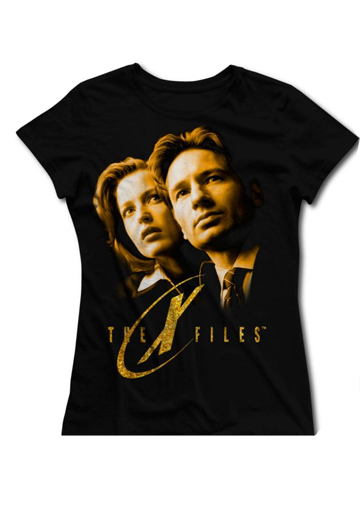 The X-Files Ladies T-Shirt Gold Faces Size S