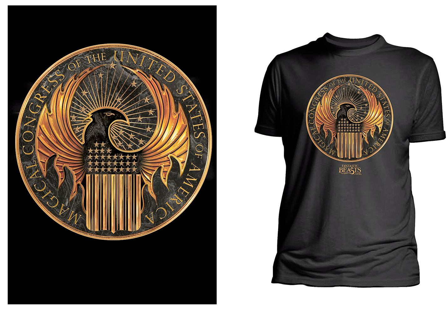 Fantastic Beasts T-Shirt Magical Congress of United States Of America  Size L