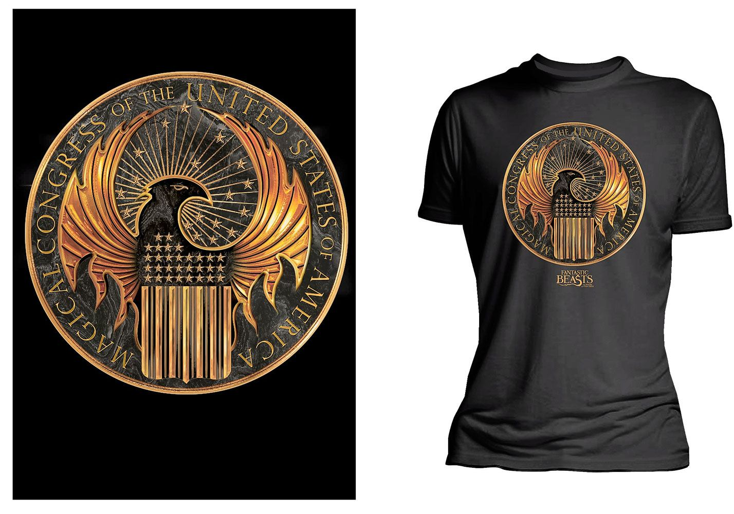 Fantastic Beasts Ladies T-Shirt Magical Congress of United States Of America  Size M