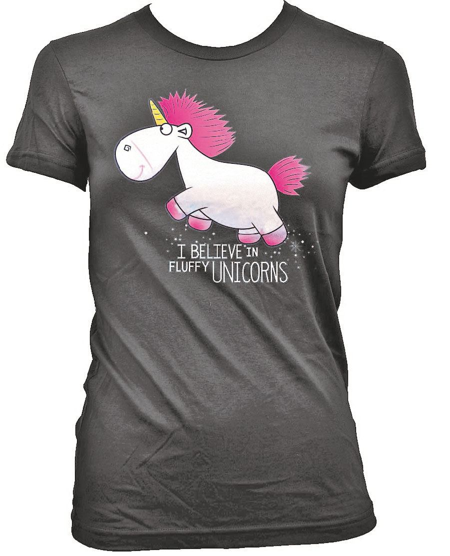 Despicable Me Ladies T-Shirt I Believe in Fluffy Unicorns Size L